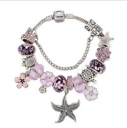 Silver 925 Starfish Bracelet Australia - 925 Sterling Silver Murano Lampwork Glass & Pink Crystal Starfish European Charm Beads Magnolia Pendant Fits Pandora Diy Charm bracelets