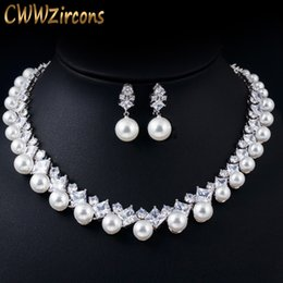 pearl choker necklace costume Australia - CWWZircons Gorgeous Cubic Zirconia Stone Big Pearl Choker Necklace Earrings Set for Women Wedding Bridal Costume Jewelry T306
