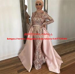 $enCountryForm.capitalKeyWord Australia - Dusky Pink Sequined Muslim Mermaid Evening Dresses Overskirts 2019 Saudi Arabic Formal Party Gowns With Hijab Detachable Train Prom Dresses