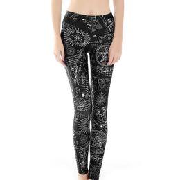 $enCountryForm.capitalKeyWord Australia - Geometric Symbols on Black Bottom Digital Printed Bottom Pants Leggings for Ladies Elastic Fitness and Yoga Pants