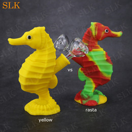Pot Bongs NZ - Seahorse shape tobacco smoking pipe for stoner wholesale cheap price silicone water bong Siliclab design mini dab rig bubbler pot