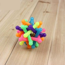 pet toy wholesale Canada - Pets Toys Flexible Glue Small Bell Colorful Six Corner Sound Toys Cat Toys