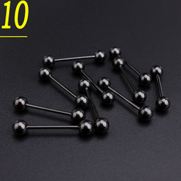 lip piercing wholesale NZ - 100pcs set Black Stainless Steel Tongue Bar Body Piercing Jewelry
