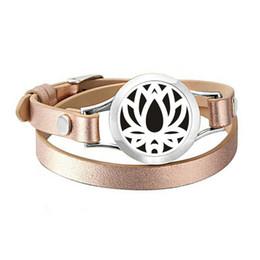 $enCountryForm.capitalKeyWord NZ - 25mm Lotus Flower Designed Manual Turn Around Open Stainless Steel Aroma Essential Oil Diffuser Twist PU Leather Bracelet Charm Bracelet