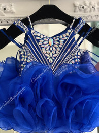$enCountryForm.capitalKeyWord Australia - Little Miss Pageant Dress for Baby Girl Infant Toddler 2019 Straps Unique B76 Royal Blue Ruffles Cupcake Kids Pageant Dance Party Prom Gowns