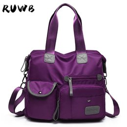 ladies handbags multi pockets Australia - RUWB Nylon Waterproof Travel Tote Bag Lady Large Capacity Casual Handbag Women Multi Zipper Pockets Work Shoulder Bags