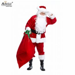 father christmas suits Canada - Ainclu Adult Santa Claus Costume Suit Plush Father Fancy Clothes Xmas Cosplay Props Men Coat Pants Beard Belt Hat Christmas Set