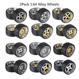 Tire Models NZ - 2Pack Alloy Wheels Tire Set Axles Vehicle Wheels Tire Modified Alloy Car Refit For 1 64 4PCS Vehicle Car Model