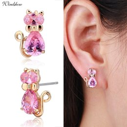 Discount gold knot stud earrings - Cute 5colors CZ Bow Knot Kitten Gato Kitty Cat Stud Earrings for Women Children Girls Kids Baby Gold Color Jewelry Aros