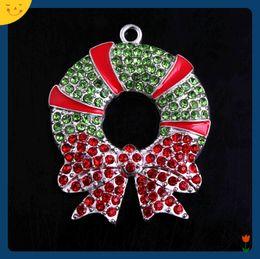 $enCountryForm.capitalKeyWord NZ - Doluo Fashion Jewelry 47*38mm 10pcs Zice Alloy Christmas Wreath Rhinestone Pendants for Chunky Beads Necklace Making Keychain Bracelet Charm