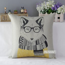 cushion cover black bird UK - Lion Panda Fox Black Bear Bird Cushion Covers Lovely Animal Sofa Pillow Cover Thick Linen Cotton Pillow Case Bedroom Decoration