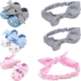 Cute Summer Cotton Fabric Australia - Non-slip Toddler Kids Summer Cute Baby Shoes With Headband Girls Soft Sole Cotton Crib Shoes 0-18M