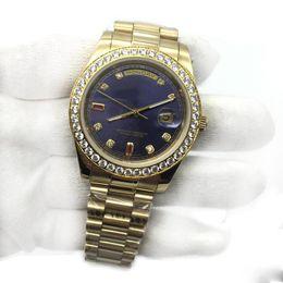 Best Male Wrist Watch Australia - Best Mens Watch Blue Dial 18K Gold President Sapphire Cystal Diamond Number Men Watches Automatic Mechanical Movement Male Wrist Watch