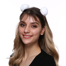 $enCountryForm.capitalKeyWord Australia - Kids Solid Faux Fur Ball Hair Bands Cute Cosplay Deer Ears Headband Headwear Hair Hoop For Womens Hair Accessories Party