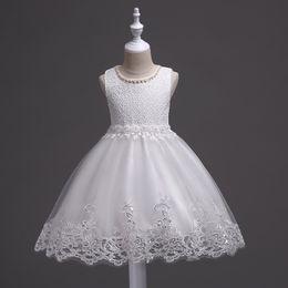 2019 abbigliamento per bambini europei e americani Ragazze Bambini Abiti bianchi Beaded Princess Wedding Tutu Summer Vest Mesh Skirt