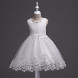 Wedding Vest Pink Australia - 2019 European and American children's wear Girls Children White Dresses Beaded Princess Wedding Tutu Summer Vest Mesh Skirt