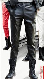 Korean Fashion Tights Australia - 2019 new fashion leather pants male Korean version of the slim feet pants men's tight motorcycle leather