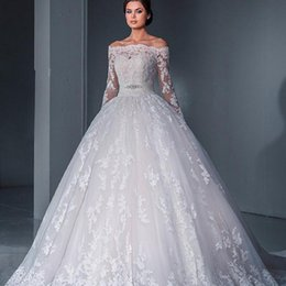 $enCountryForm.capitalKeyWord Australia - Long Sleeve Crystal Ball Lace Up Sweetheart Bridal Gowns Wedding Dresses Pregnant Women Plus Size Professional custom