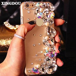 rhinestone cell phone cases 5s Canada - wholesale Pearl Cell Phone Case 3D Cover for iPhone 7 6 6S Plus 5 5S SE 5C Samsung Galaxy Note 7 5 S7 S6 Edge Plus S5 4 3 A8 7 5