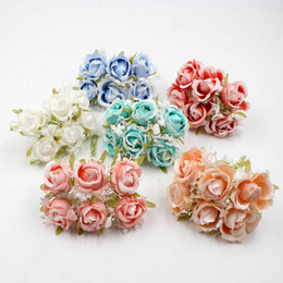 White Rose Crafts Australia - 6pcs lot White Lace 3.5cm Silk Rose Bouquet Artificial Flowers Wedding Decoration Accessories DIY Wreath Gift Boxes Crafts