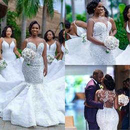 MusliM dresses weddings online shopping - Luxury African Mermaid Wedding Dresses Plus Size robe de mariee Black Girl Women Lace Wedding Gowns Handmade Bride Dress
