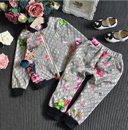 $enCountryForm.capitalKeyWord Australia - Fashion Tracksuit Brand tag Autumn Floral Clothes Set Kids Boy Girl Long Sleeve Top Flowers Pants kids jacket trousers 2 Pcs Suits