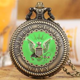 $enCountryForm.capitalKeyWord NZ - Big Size U.S Navy Display Quartz Pocket Watch Bronze Necklace Watch Retro Antique Pendant Souvenir Gifts for Men Women Kids