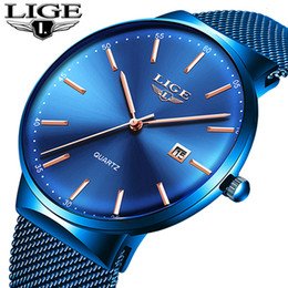 watches gogoey NZ - Relogio Masculino New Mens Watches LIGE Top Brand Luxury Fashion Watch Slim Mesh Date Waterproof Quartz Watch For Men Blue Clock SH190929
