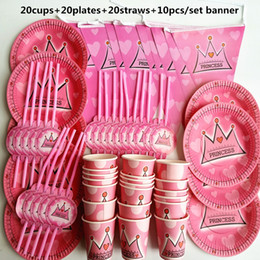 Birthday Banners kids online shopping - 70pcs Person Happy Birthday Kids Princess Baby Girl Shower Party Decoration Set Banner Table Cloth Straws Cup Plates Supplies