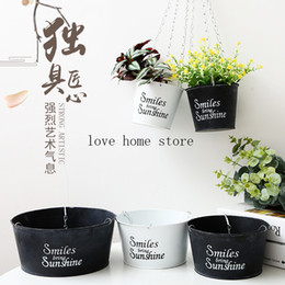 decorate baskets NZ - Metal Iron Flower Pot Hanging Balcony Plant Holder Fence Pots Garden Decor Plant Hanger Basket for Indoor Outdoor decorating Succulent Herbs