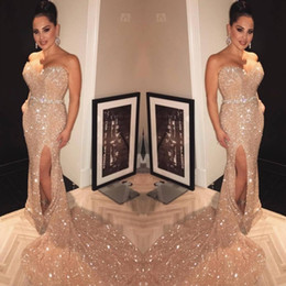Crystal banquet online shopping - Red Carpet Banquet Prom Dresses Sexy Gold Sequin Mermaid Strapless Sweetheart Celebrity Slit Evening Gowns Custom Made