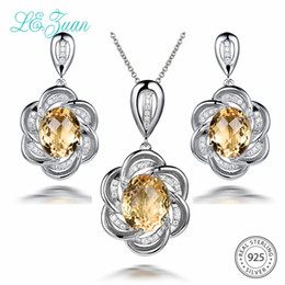 $enCountryForm.capitalKeyWord Australia - L&zuan 17.47CT Natural Citrine Jewelry Sets in 925 Sterling Silver Fine Yellow Stones Floral Earrings Pendant With Silver Chain