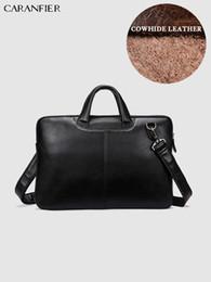Genuine Leather Handbag Cowhide Shoulder Bag Australia - CARANFIER Mens Briefcases Shoulder Crossbody Bags Genuine Cowhide Leather Business Handbags Zipper Laptop Computer Travel Bags