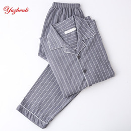 Yuzhenli Men s Pajamas Autumn Long Sleeve 100% Cotton Pyjamas Sleepwear  Male Stripe Lounge Pajama Sets Plus size Nightwear 3XL 56382da9f
