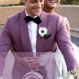 ivory tuxedos for sale UK - Hot Sale Shawl Lapel Wedding Tuxedos Slim Fit Suits For Men Groomsmen Suit Two Pieces Cheap Prom Formal Suits (Jacket+Pants+Bow)