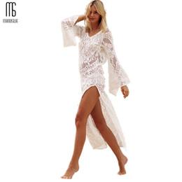 56160888de074 Sexy V neck backless cover ups crochet lace blouse bikini dress see through  beachwear Hollow out robe skirt Split