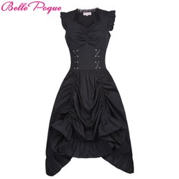 $enCountryForm.capitalKeyWord Australia - Belle Poque Women Sleeveless V-neck Lace-up Corset Ruffle Dress 2018 Retro Vintage Steampunk Black Punk Gothic Victorian Dress T3190614