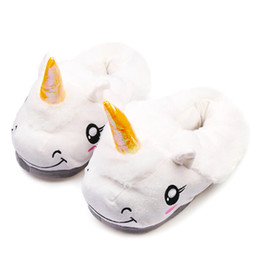 $enCountryForm.capitalKeyWord UK - Winter Children Unicorn Slippers For Kids Plush Baby Girls Boys Cartoon cotton Slippers With Closed Heel Adult Home Flip Flops