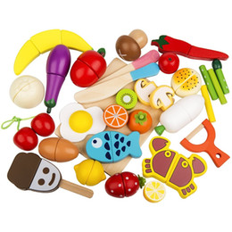 $enCountryForm.capitalKeyWord Australia - Play Food Set 30 Pcs Wooden Cutting Food Magnetic Fruits and Vegetables Kitchen Set Educational Toy for Preschool Age Kids