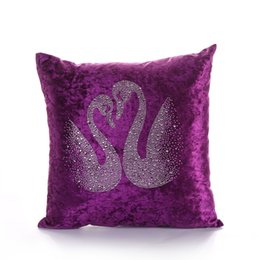 $enCountryForm.capitalKeyWord UK - European Style Swan Patterns Decorative Velvet Fabric Throw Pillow Home Bedside Sofa Backrest Cushion Factory Direct Sales