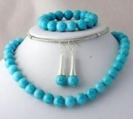 $enCountryForm.capitalKeyWord Australia - Women's cospay women's Hair full wigs 10mm Blue stone Bead Necklace Bracelet Earring 1 Set^^^@^ GP style Fine jewe Noble