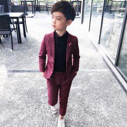 $enCountryForm.capitalKeyWord Australia - 2 Piece Weddings Prom Red Black Wedding Suits For Kids Clothes Set 3 5 7 9y Boys Blazers J190710
