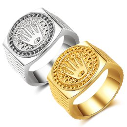 wholesale statement rings Australia - Rapper Men Ring Wide Hip Hop Ring Statement Gold Engraved Ring fashion Iced out crown anillos hombre party jewelry