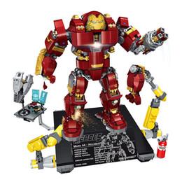 Iron Hero Figure Australia - Heroes Gathering Tony Stark Iron Man Armor Hulkbuster With Light Brick Super Hero Avengers Building Blocks Action Figure Toy For Children