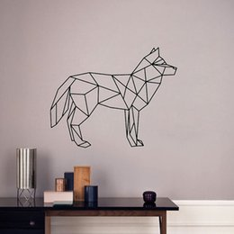 Discount dog wall stickers for bedrooms - Black Geometric animal dog wolf Wall Sticker Removable Double Sided Visual Pattern Home Decoration House Wallpaper free