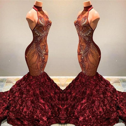 beaded illusion Australia - 2019 Burgundy Lace Mermaid Long Prom Dresses Illusion Applique Beaded 3D Flowers Halter Sweep Train Evening Gowns Vestidos De Festa