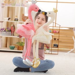 Discount ballet gifts for girls - 35CM swan plush toys cute flamingo doll stuffed soft animal doll ballet swan with crown baby kids appease toy gift for g