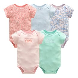 Infant Girl Romper Sets Australia - 5 pcs lot Newborn Clothes Baby Girl Clothing Set Short Sleeve Cotton Jumpsuit Toddler Boys Summer Romper Infant Outfits