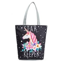Chinese  Unicorn Handbag Animal floral Printed Tote Casual Women Shoulder Bag Cosmetic Totes Summer Beach Bags Storage Bags GGA1653 manufacturers