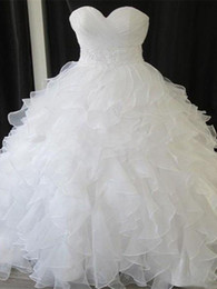 ruffled sweetheart strapless wedding dress Australia - White Organza Ruffles Pleated Ball Gown Wedding Dresses Capped Sleeve Strapless Sweetheart Crystal Beaded Belt Tiered Skirts Bridal Gow